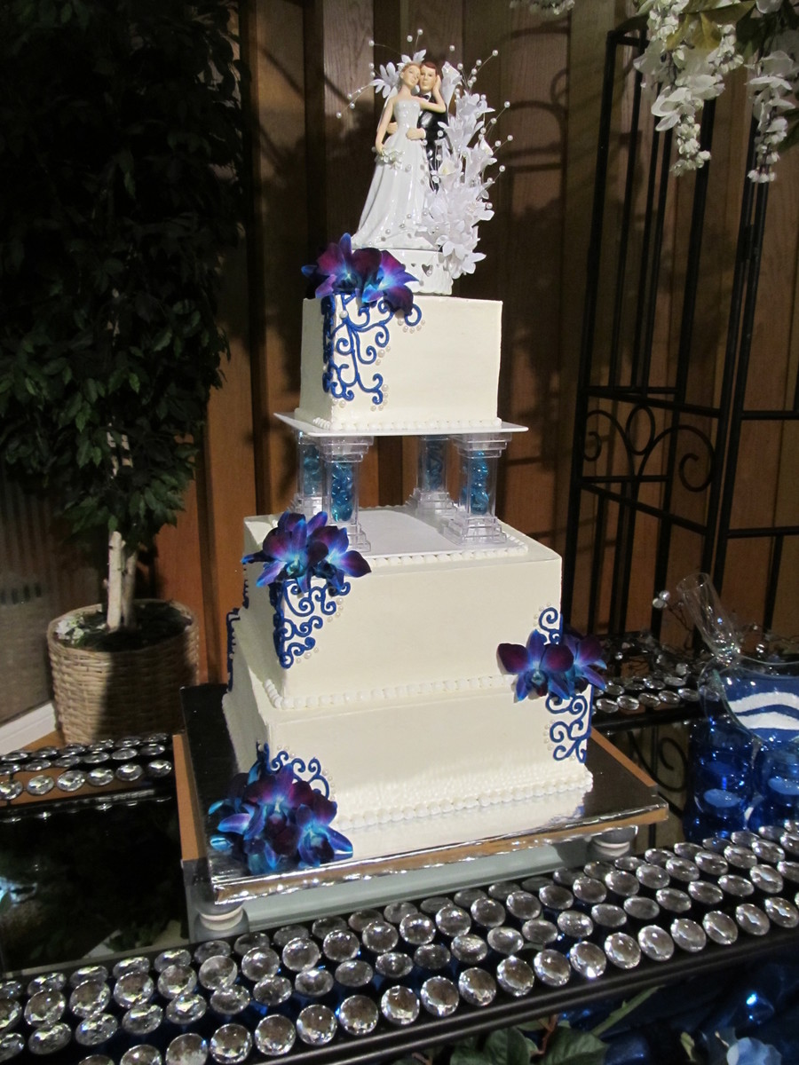 3 Tier Blue And White Square Wedding Cake