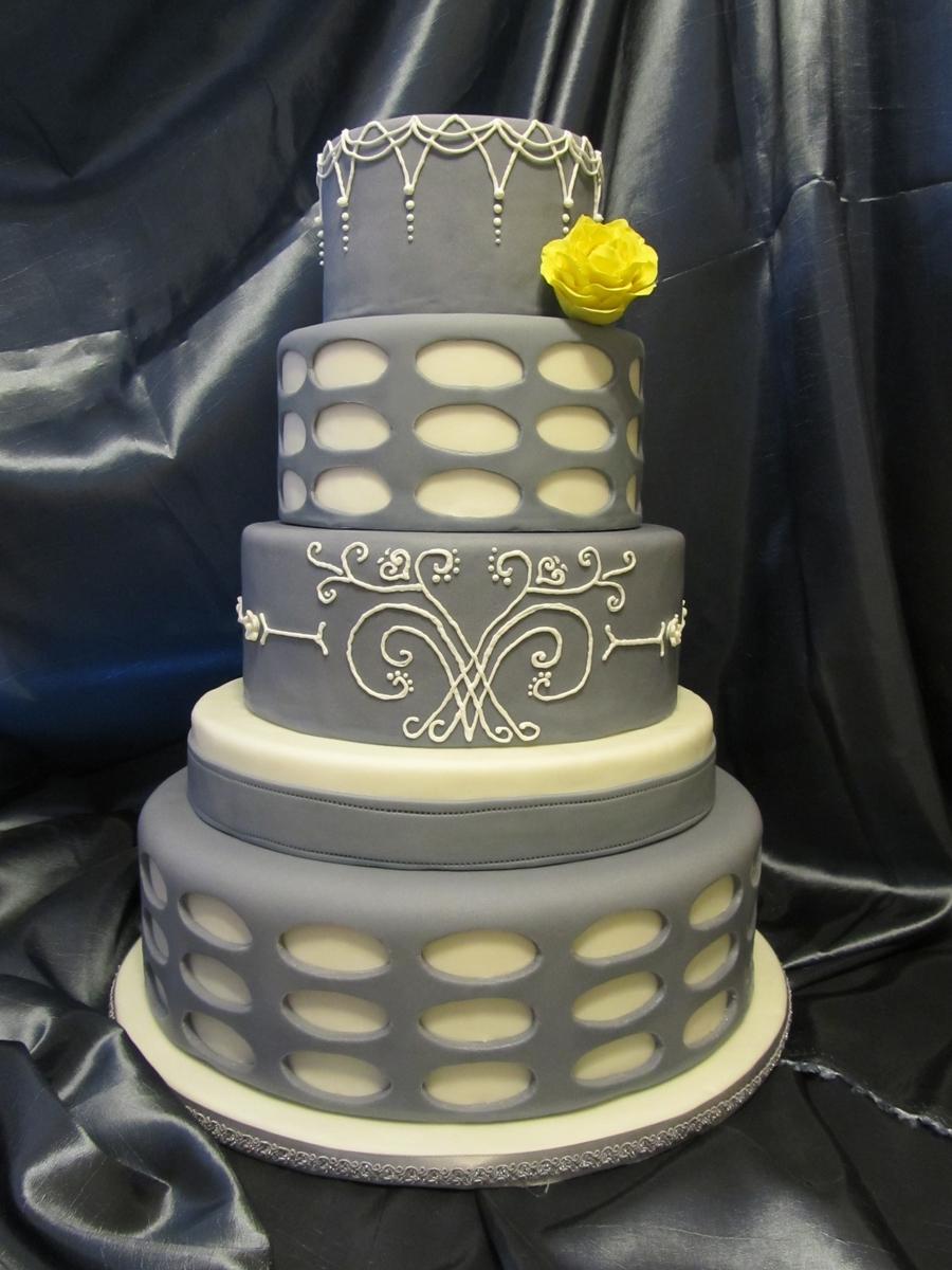 Grey And White Elegant Wedding Cake - CakeCentral.com