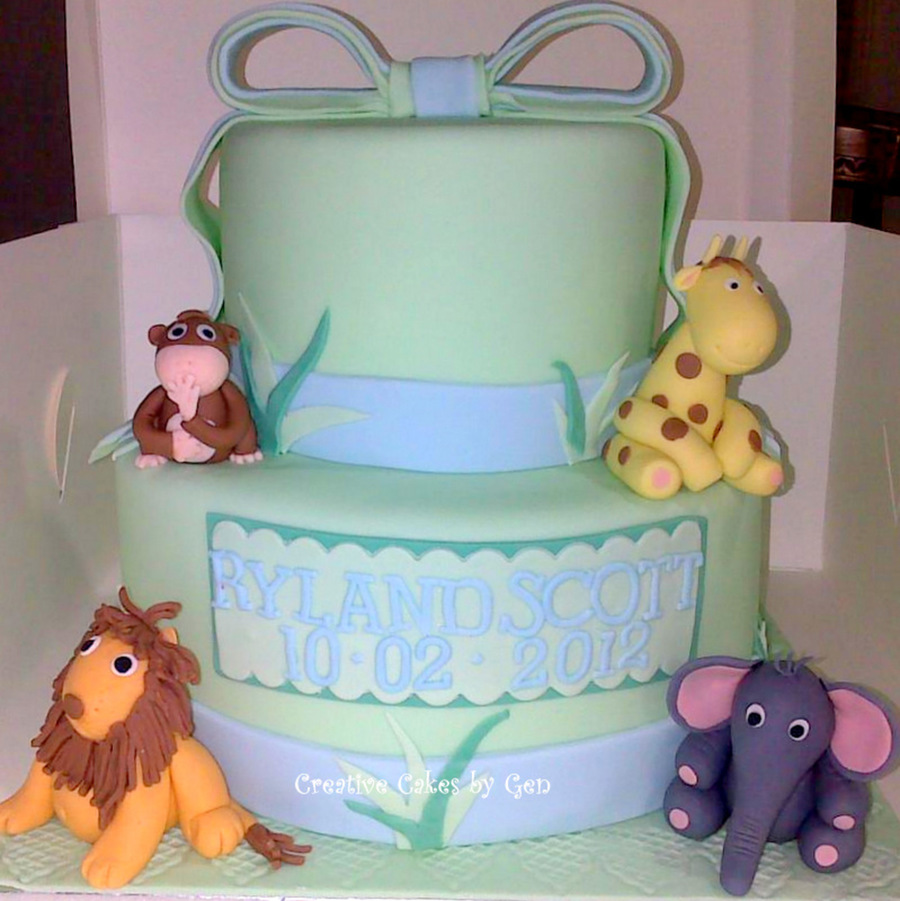 Jungle Animal Themed Baby Shower on Cake Central