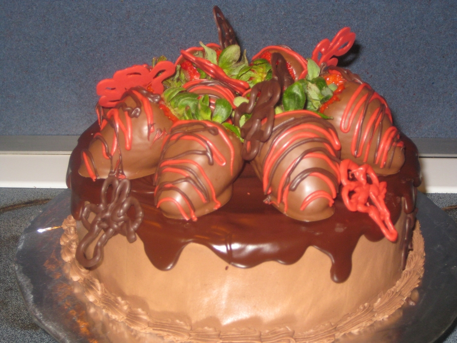 Chocolate Fudge Strawberry Cake on Cake Central