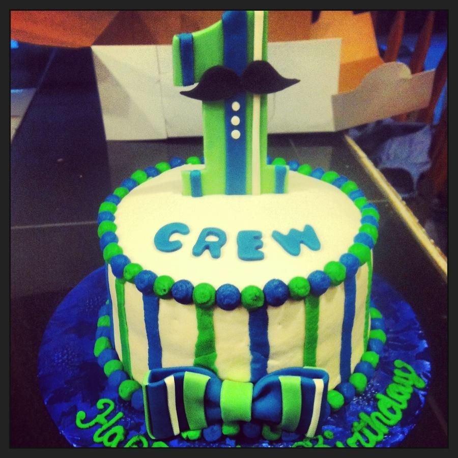 Little Man 1St Birthday Cake CakeCentralcom