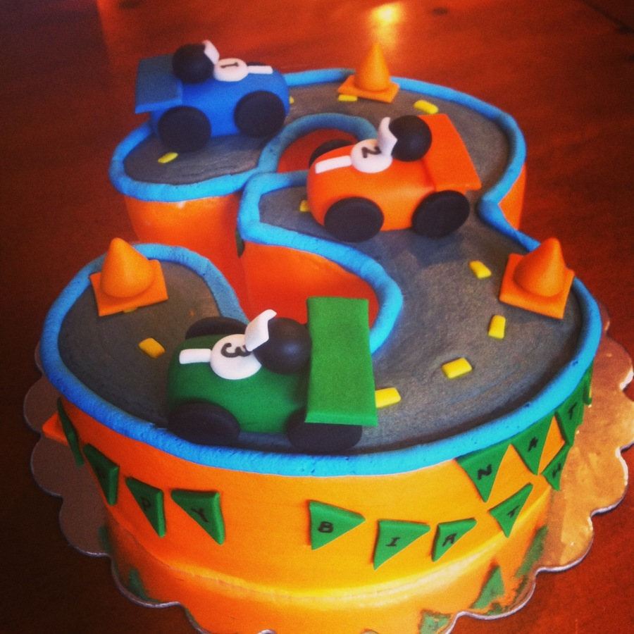 Three Race Car Cake on Cake Central