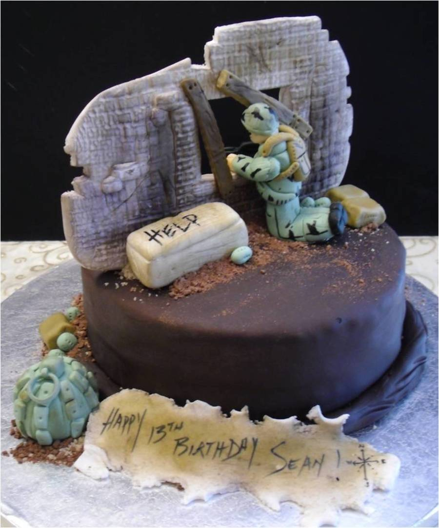 Surprising Call Of Duty Zombie Cake Cakecentral Com Personalised Birthday Cards Bromeletsinfo