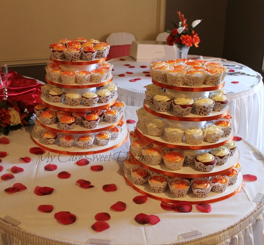 Pretty In Orange Wedding Cupcakes on Cake Central