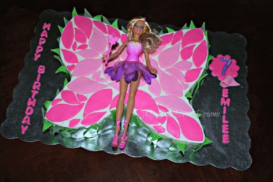 Cool Barbie Butterfly Birthday Cake Cakecentral Com Funny Birthday Cards Online Alyptdamsfinfo