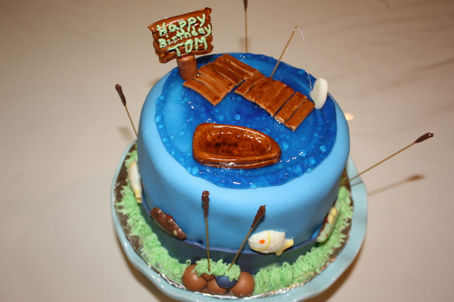 Birthday Fishing Cake on Cake Central