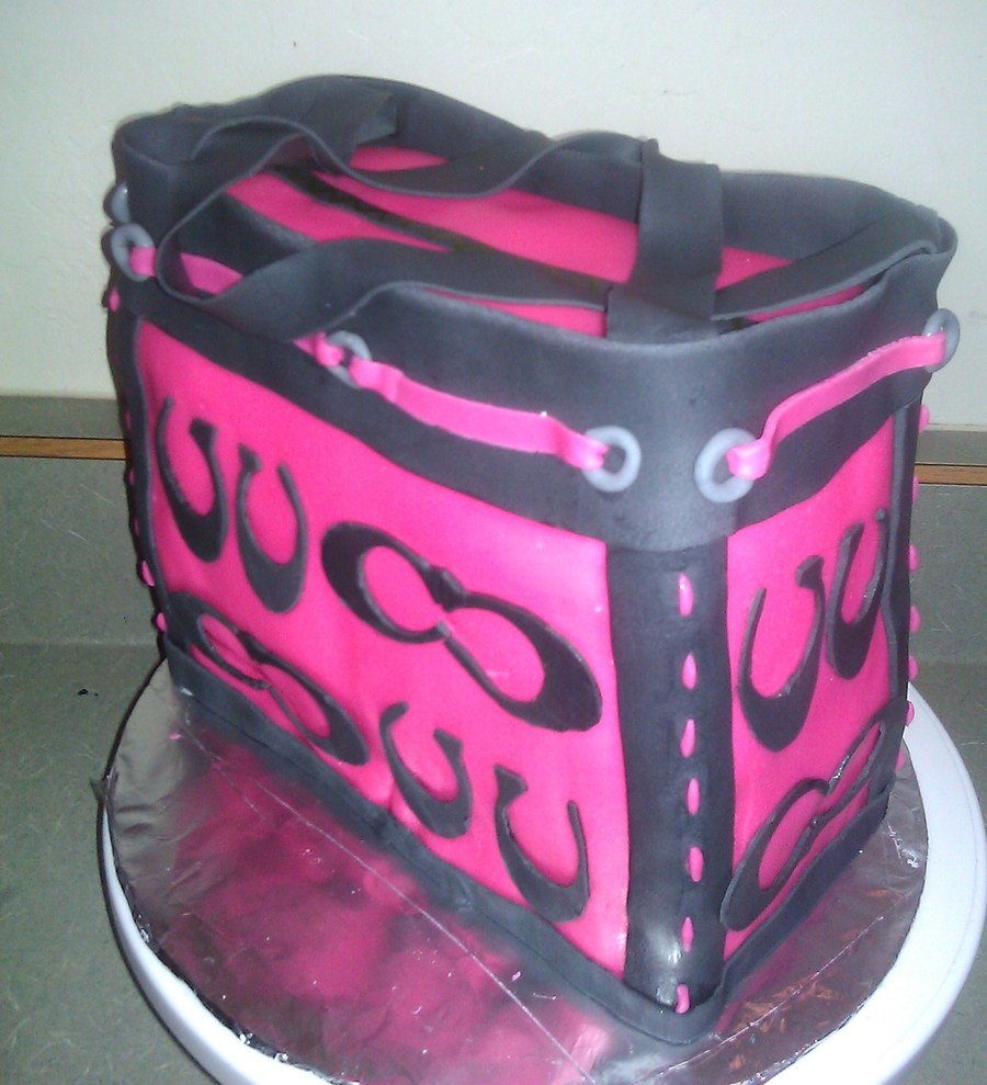 Hot Pink And Black Coach Purse on Cake Central