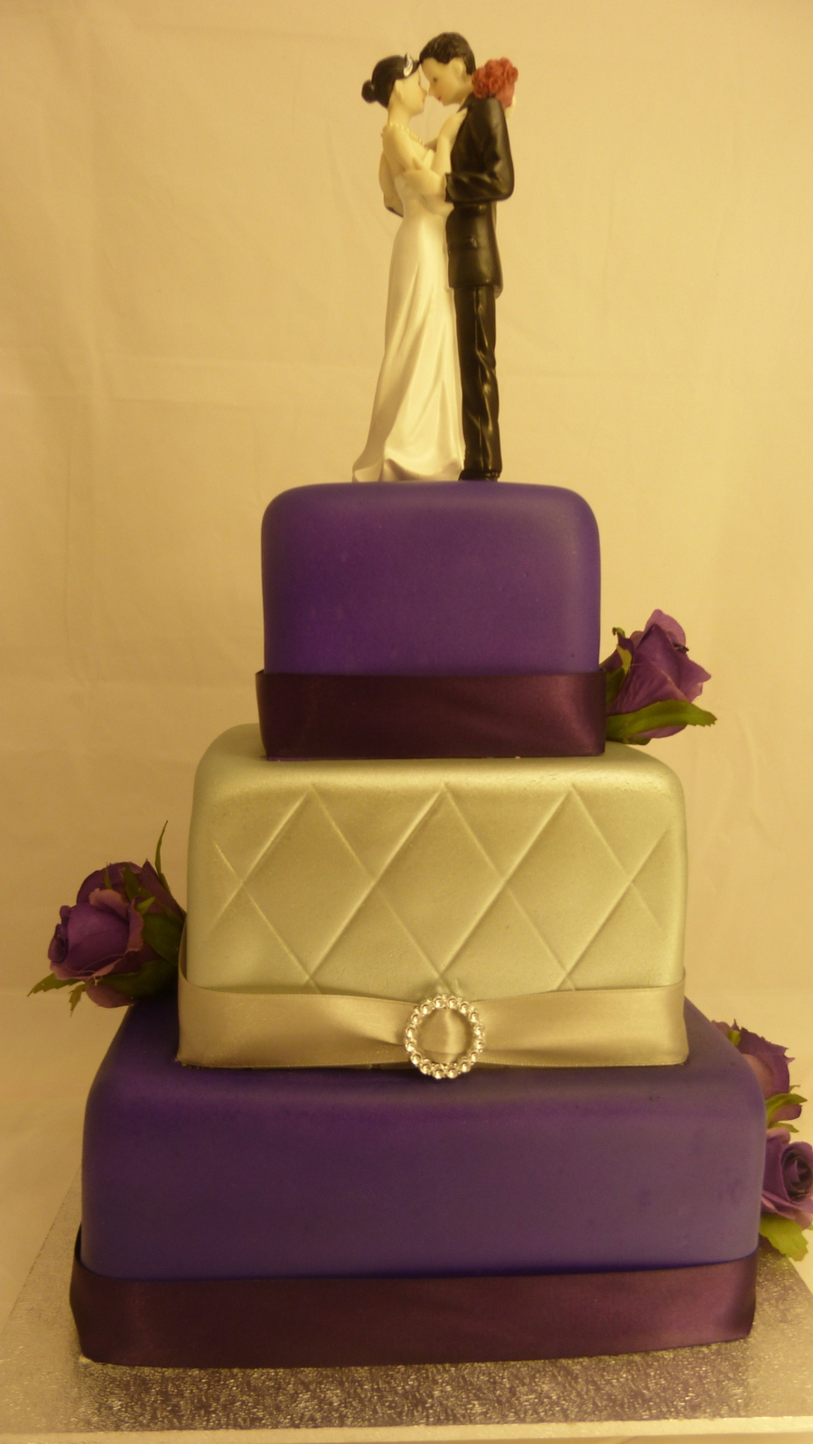 3 Teir Square Wedding Cake  on Cake Central