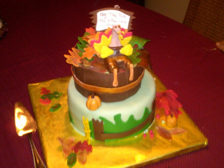 Just Found So Many Pictures From Past Cakes So Here Is One From Thanksgiving Fondant Overing And Gumpaste Turkey And Leaves I Dont Kn  on Cake Central