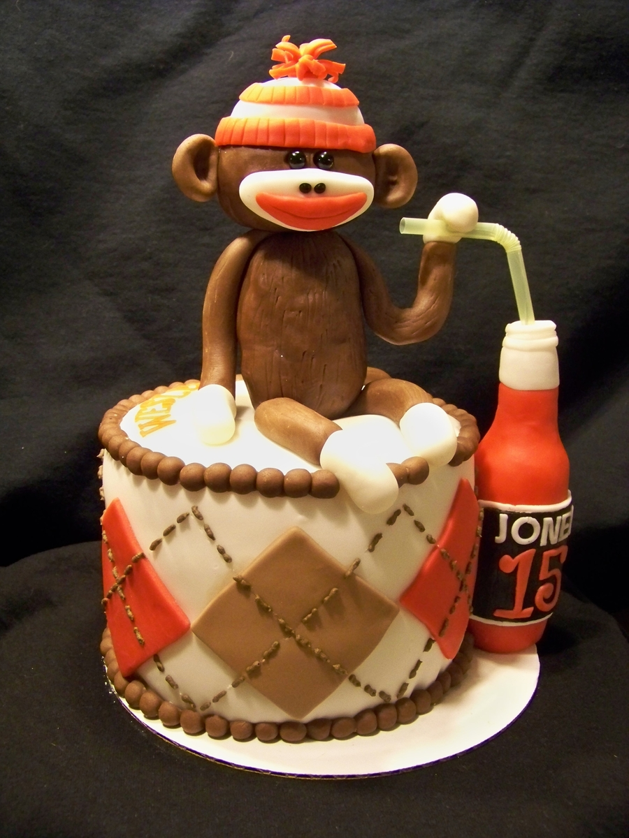 Super Soda Drinking Sock Monkey Birthday Cake Cakecentral Com Funny Birthday Cards Online Barepcheapnameinfo