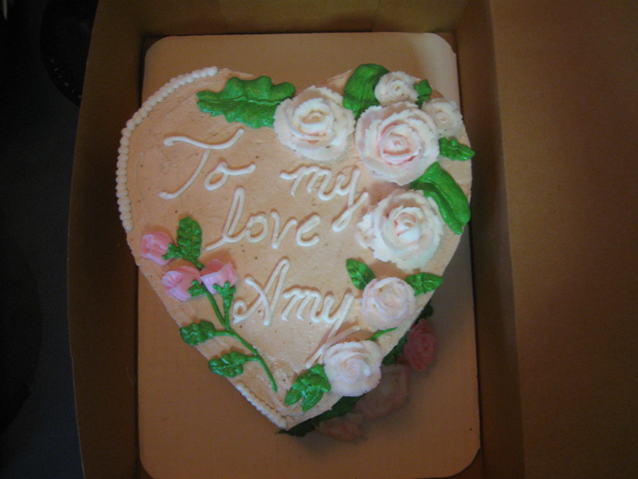 Anniversary Cake With Strawberry Buttercream And Flowers  on Cake Central