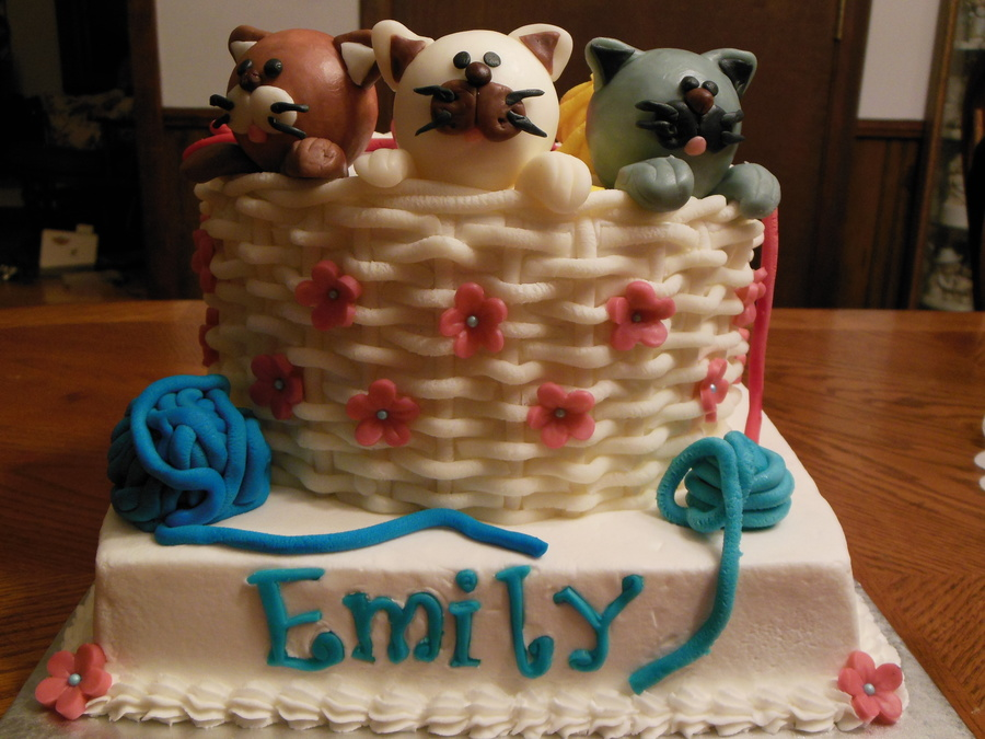Kittens And Yarn Three Little Kittens Birthday Cake on Cake Central