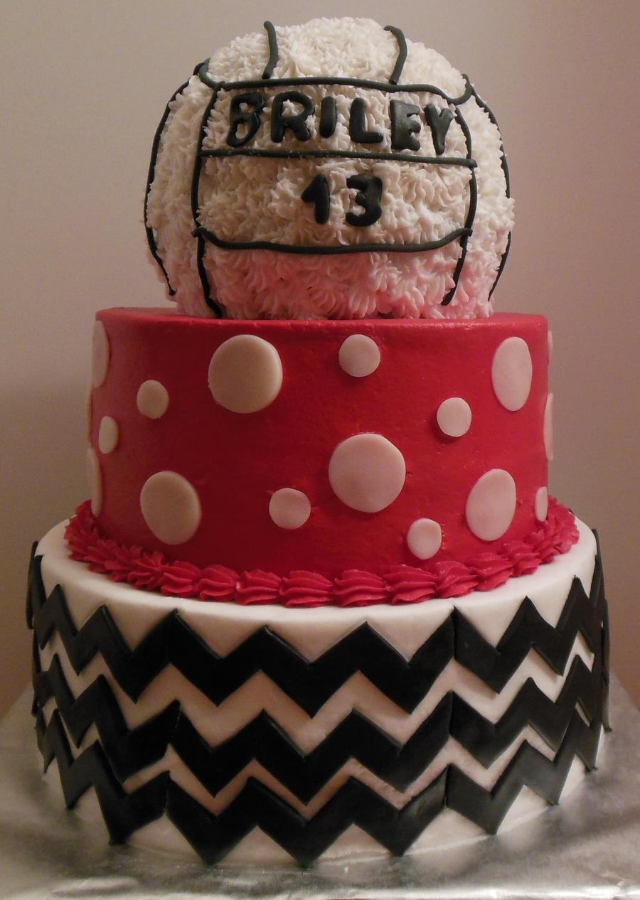 Volleyball Chevron Polka Dot 13th Birthday Cake For Briley