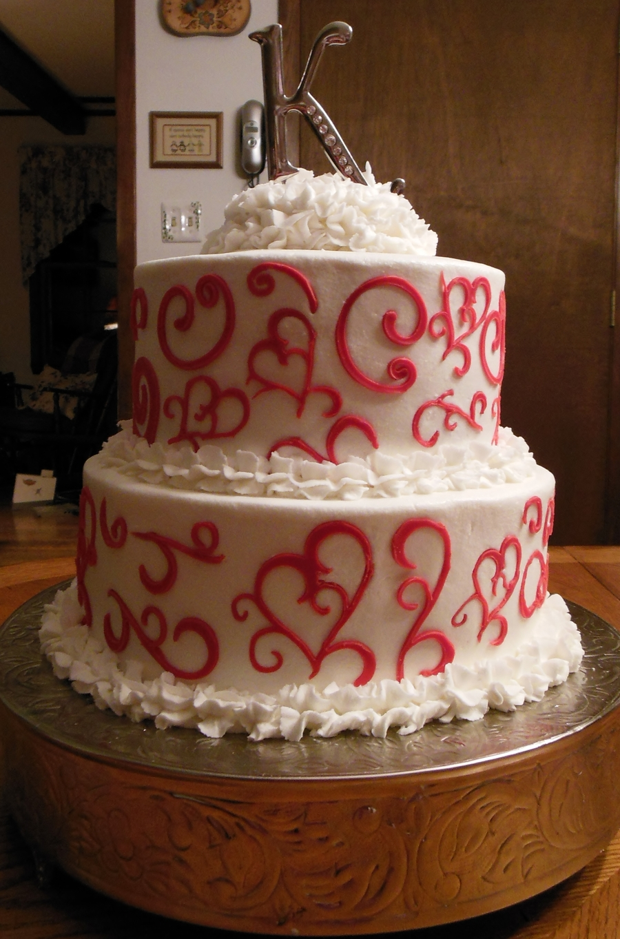 valentines day wedding cake 10 amp 8 round iced in buttercream with red fondant design. Black Bedroom Furniture Sets. Home Design Ideas