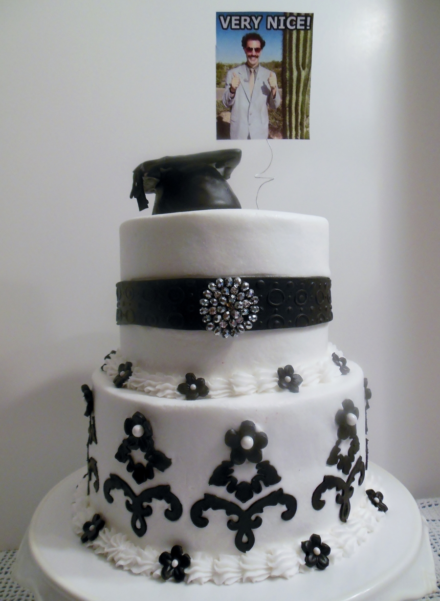 Black And White Graduation Cake With Borat Photo At The Request Of The Recipient on Cake Central
