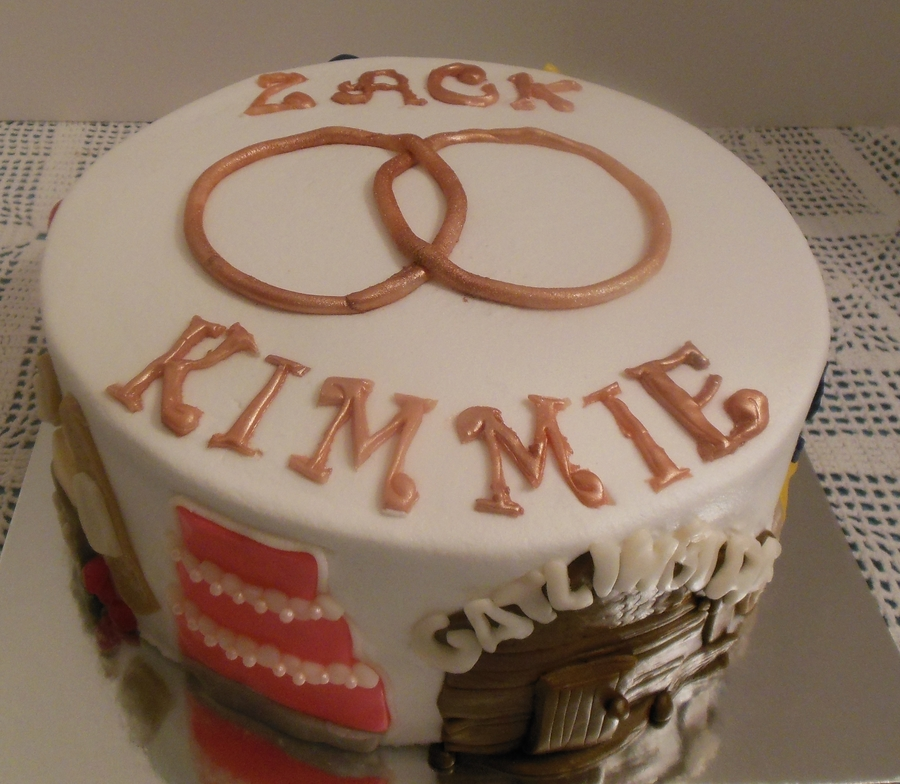 One Year Anniversary Cake Couples Name On The Top And Scenes Around