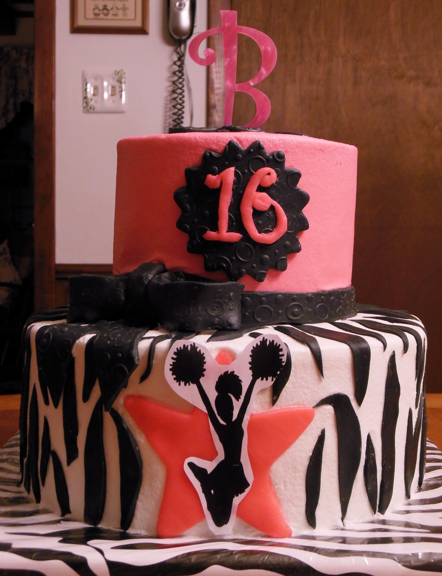 16Th Birthday Cheerleader Zebra Cake on Cake Central
