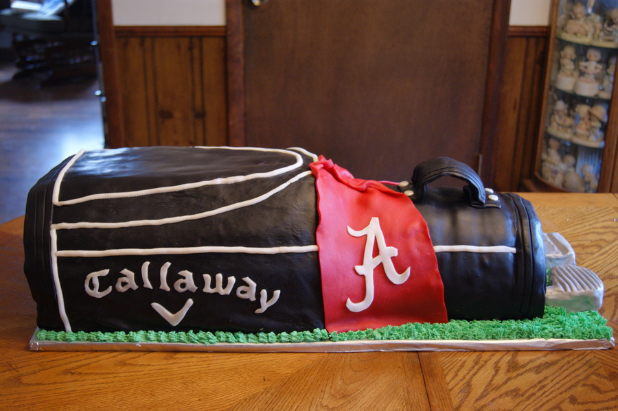 Golf Bag Grooms Cake Design Matches The Bag The Groom Uses Which Belonged To His Late Father 30 Long 13 Wide 14 High Red Velvet Cake on Cake Central