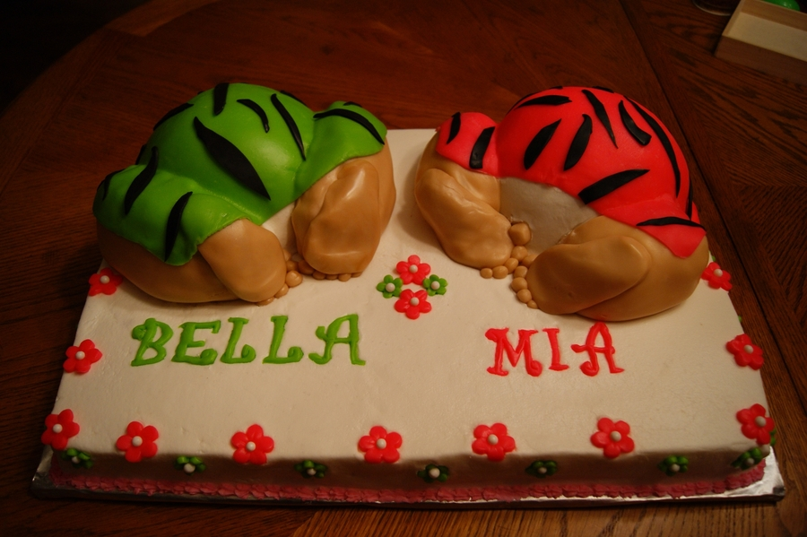 Baby Bottom Cake For Twin Girls on Cake Central