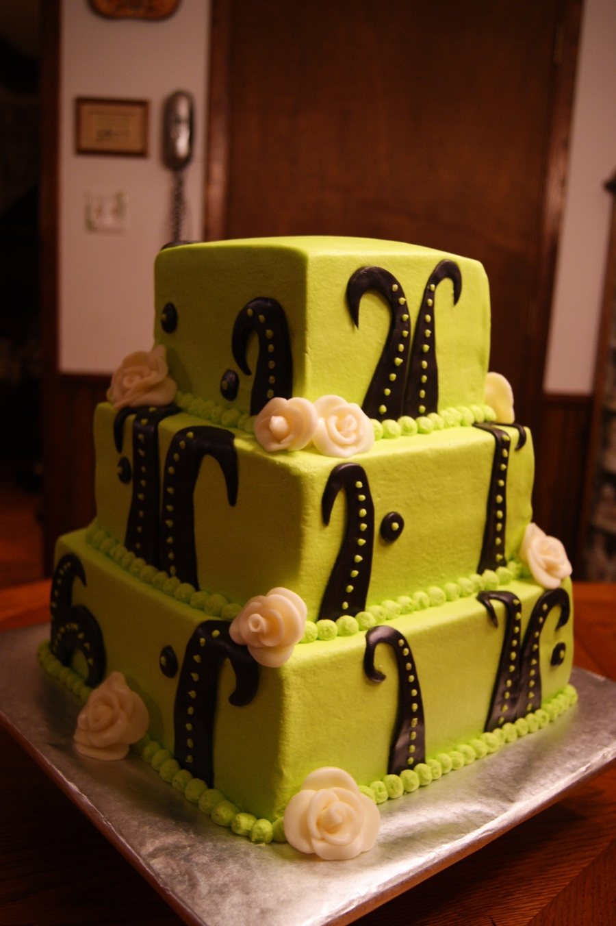 Lime Green Unusual Wedding Cake on Cake Central