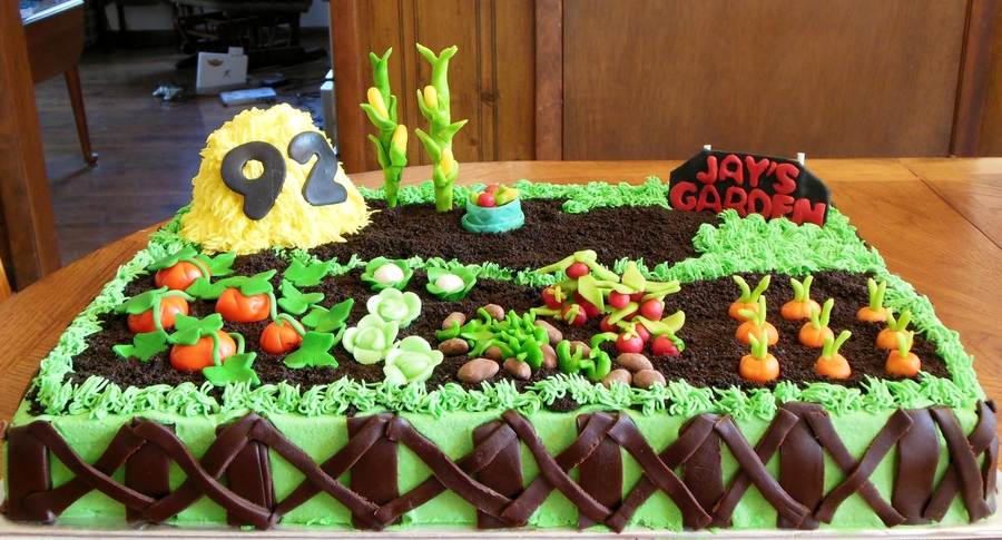 Garden Birthday Cake For A 92Nd Birthday on Cake Central