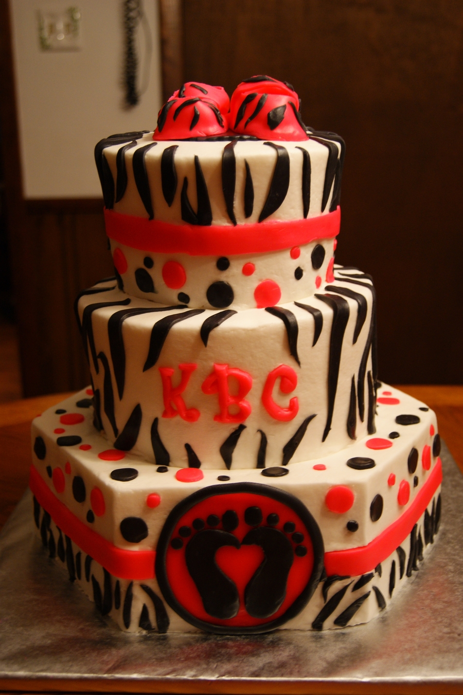 Zebra Stripe & Hot Pink Baby Girl on Cake Central