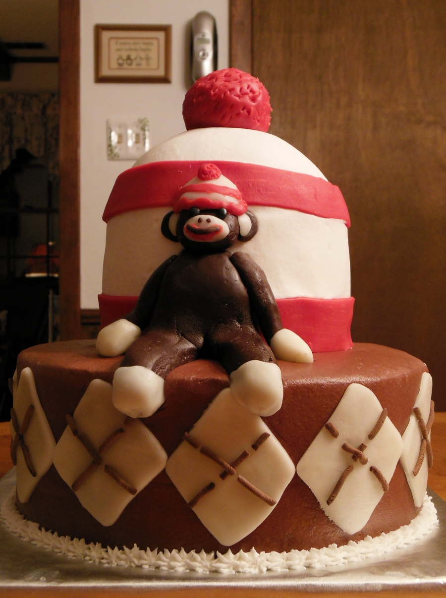 Sock Monkey Birthday Cake Base Is 10 Round Top Is Half Ball Pan With One 6 Round Layer Underneath Modeling Chocolate For Sock Monkey on Cake Central