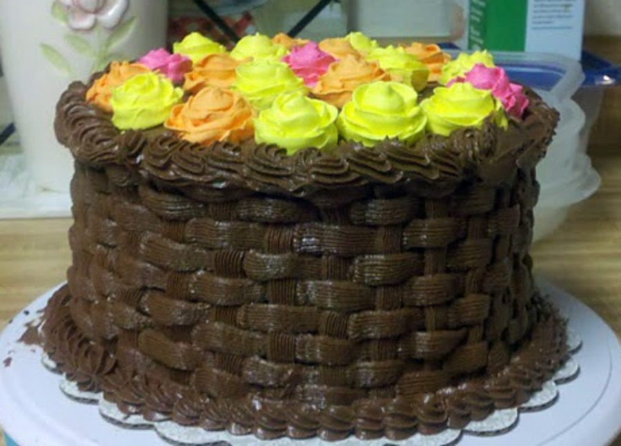 Basket Weaving A Cake : Yellow and orange rose basket weave cake cakecentral