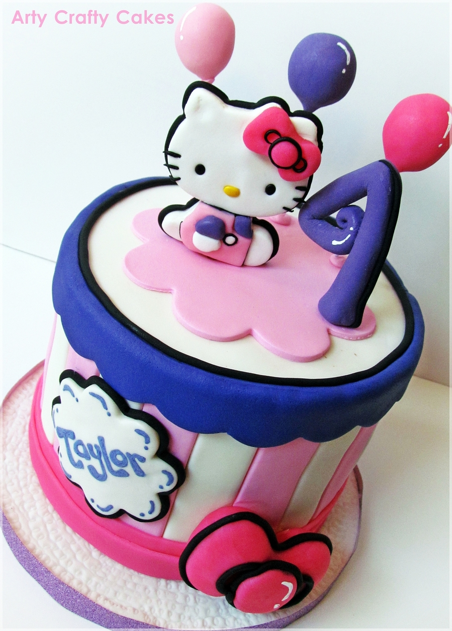 Cake Hello Kitty Pink : Pink & Purple Hello Kitty Cake - CakeCentral.com
