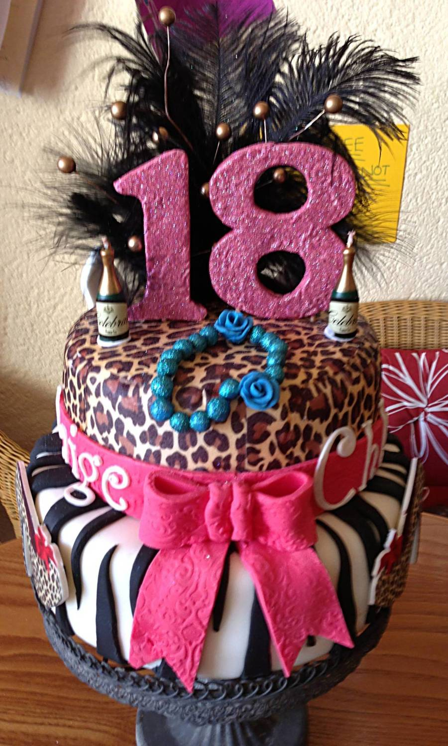 18th Birthday Cake For Twin Girls Vanilla Bottom Tier And Chocolate