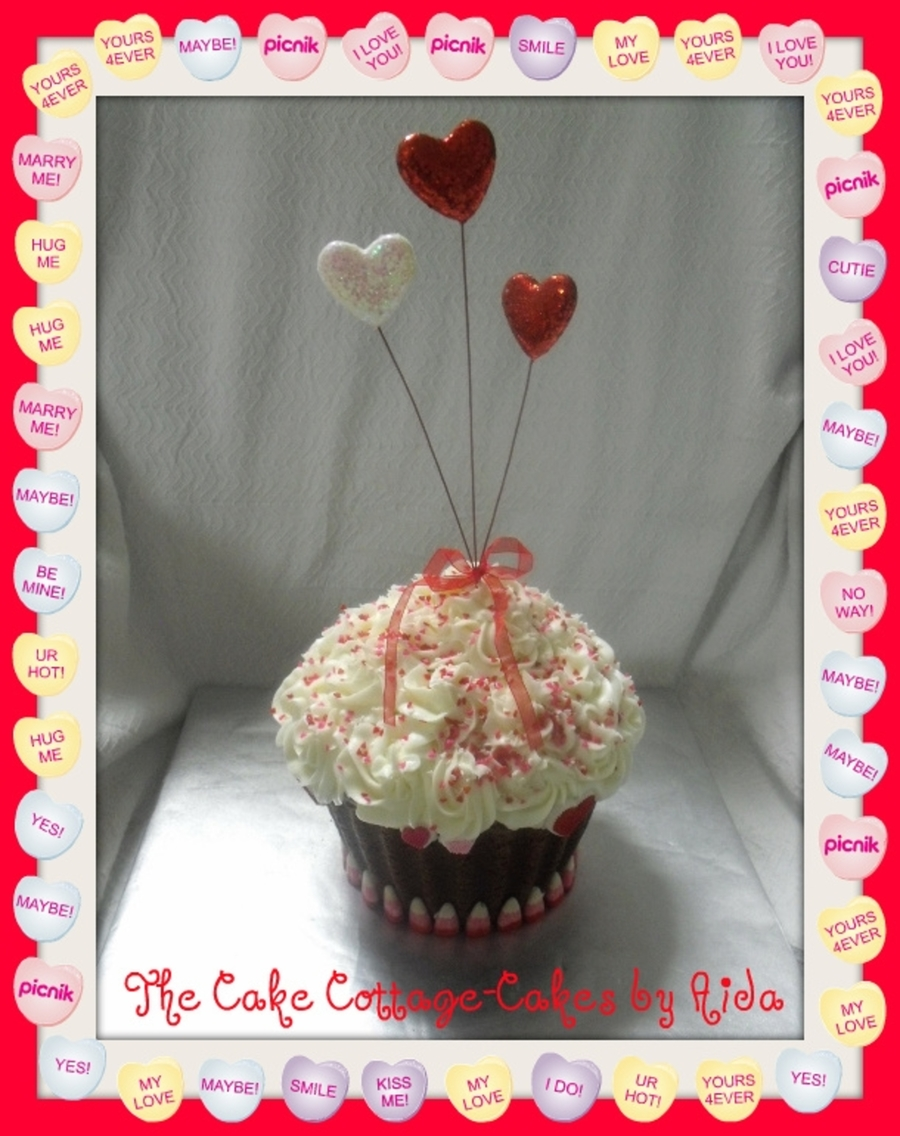 Valentines Giant Cupcake on Cake Central