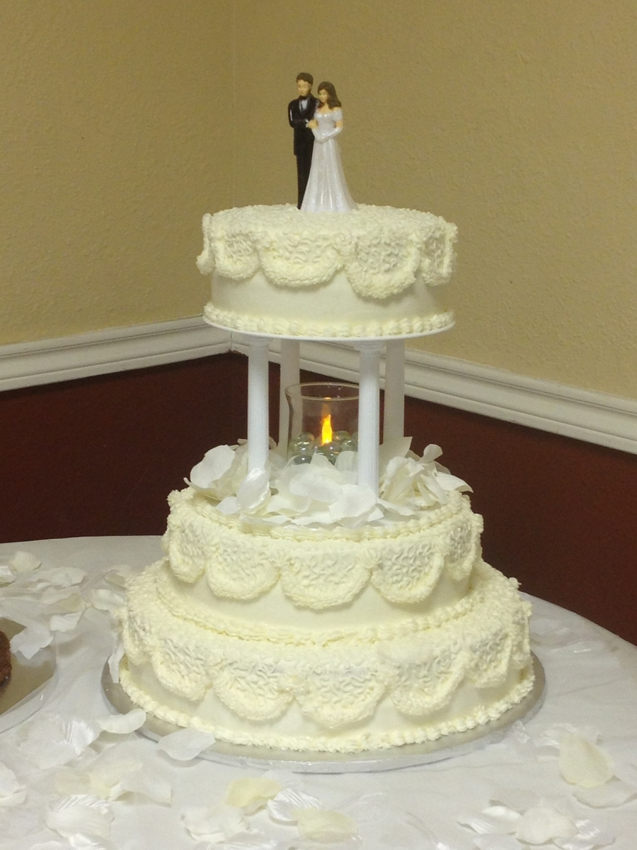 Vanilla Cake With Ivory Color Buttercream My First Wedding And Using The Cornelli Lace  on Cake Central
