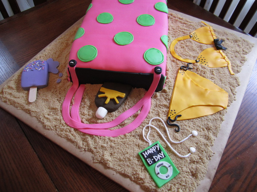 2 10x15 Sheet Cakes Ice Cream Lotion Ipod And Bikini All Fondant Thank You Jozefine For The Inspiration