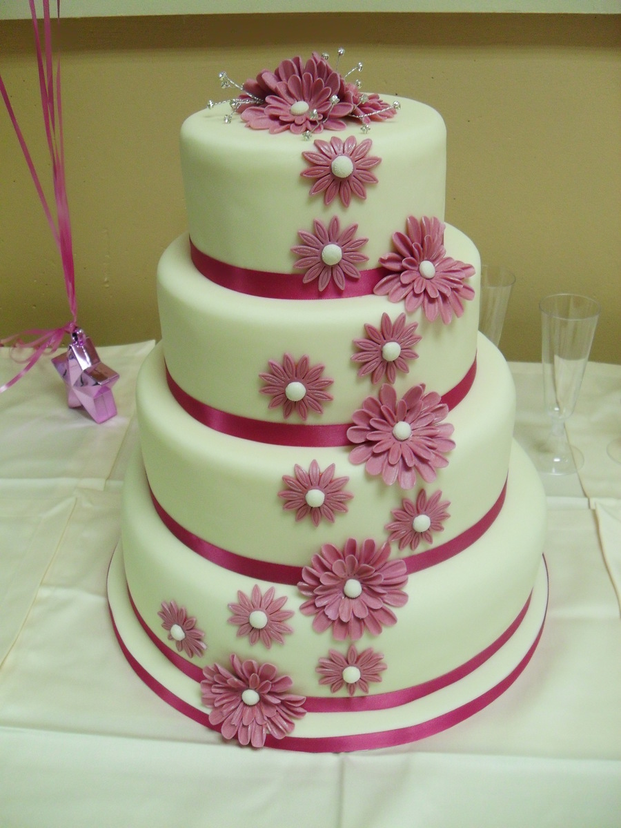 Ivory And Pink Wedding Cake on Cake Central
