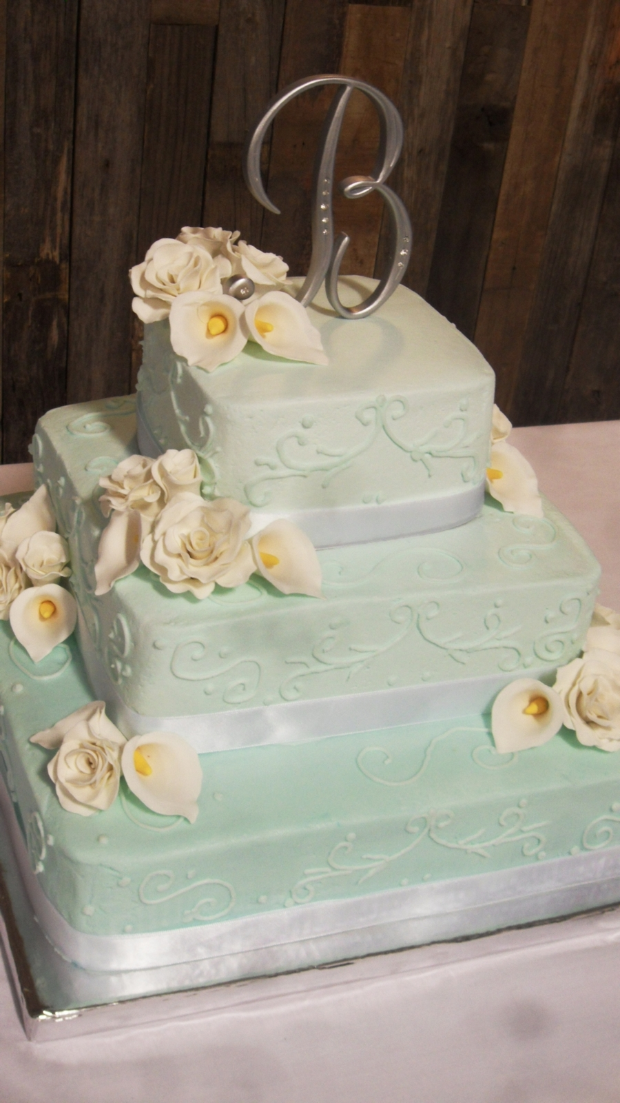 Teal Wedding Cake With Roses And Calla Lillies on Cake Central
