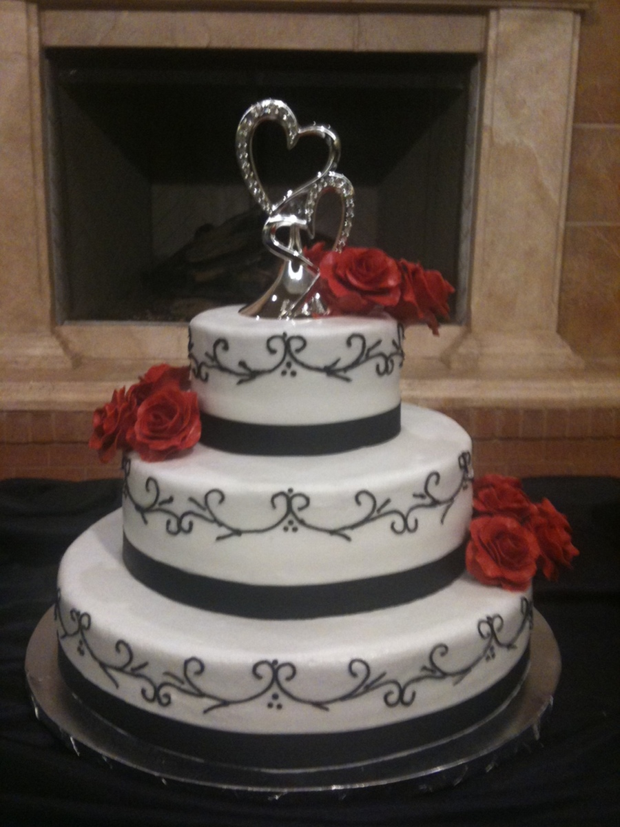 Attrayant Red, Black, White Wedding Cake On Cake Central