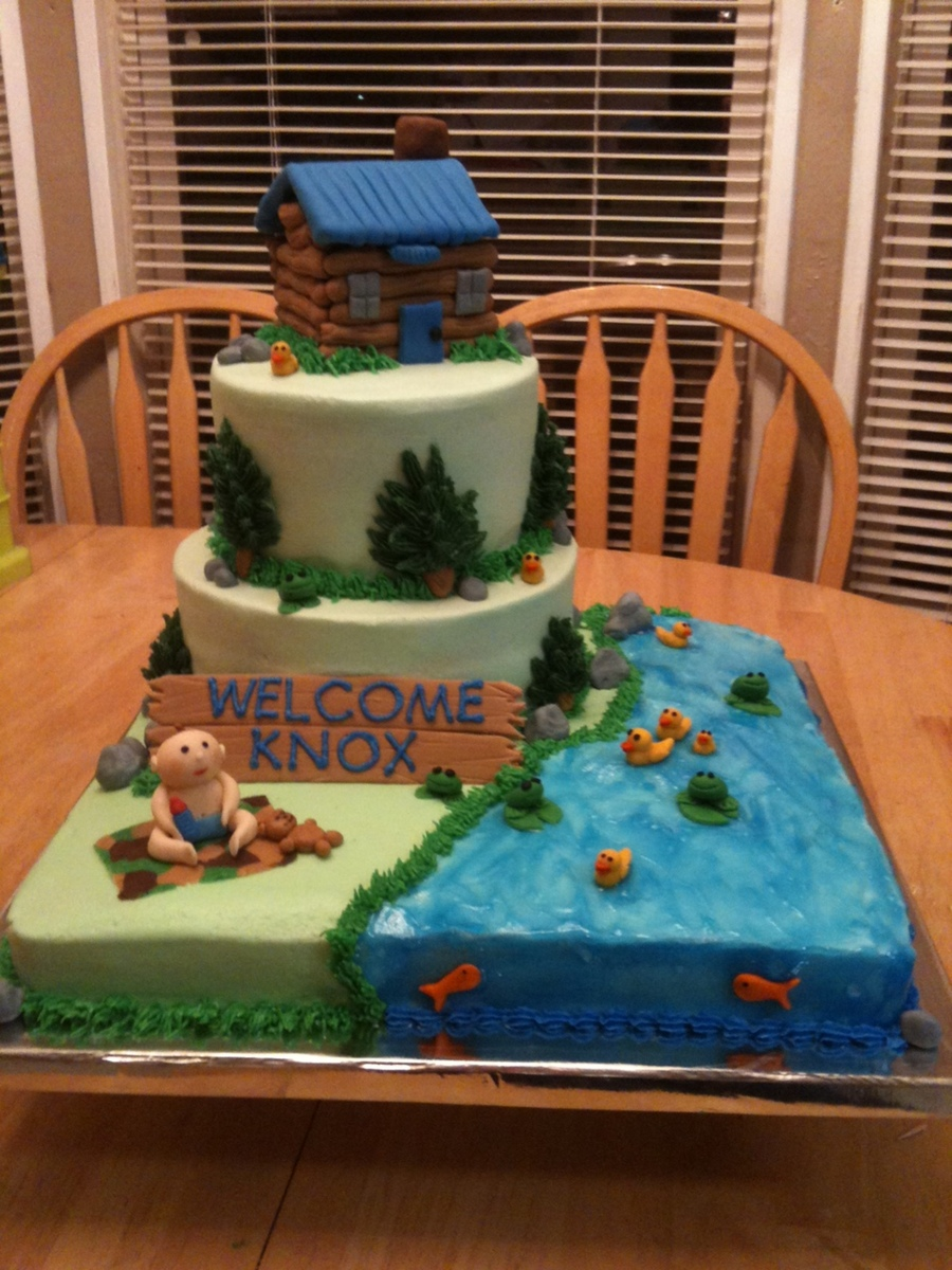 Log Cabin/outdoors Baby Shower Cake on Cake Central
