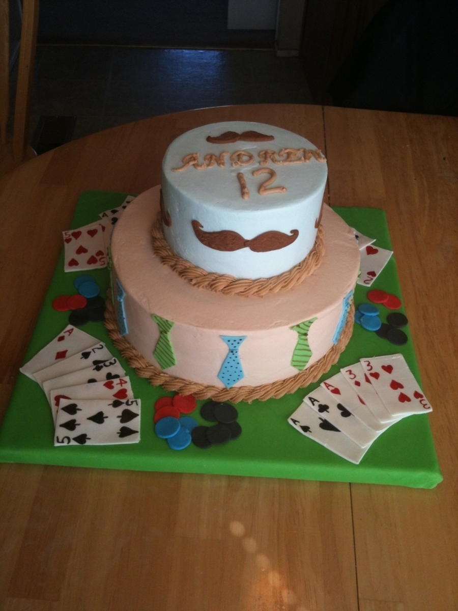 Mustache, Tie, Poker Cake on Cake Central