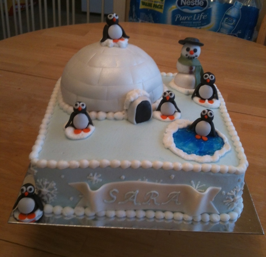 Wintery Penguin Birthday Cake Penguins And Made Of Fondant Igloo Is