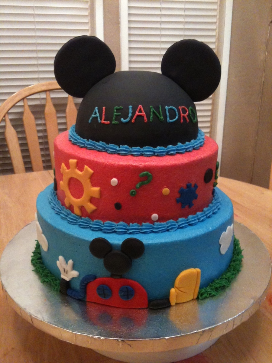 Mickey Mouse Cake Bottom Two Tiers Are Butter Cream Hat Tier Is Fondant Accents Are Fondant on Cake Central