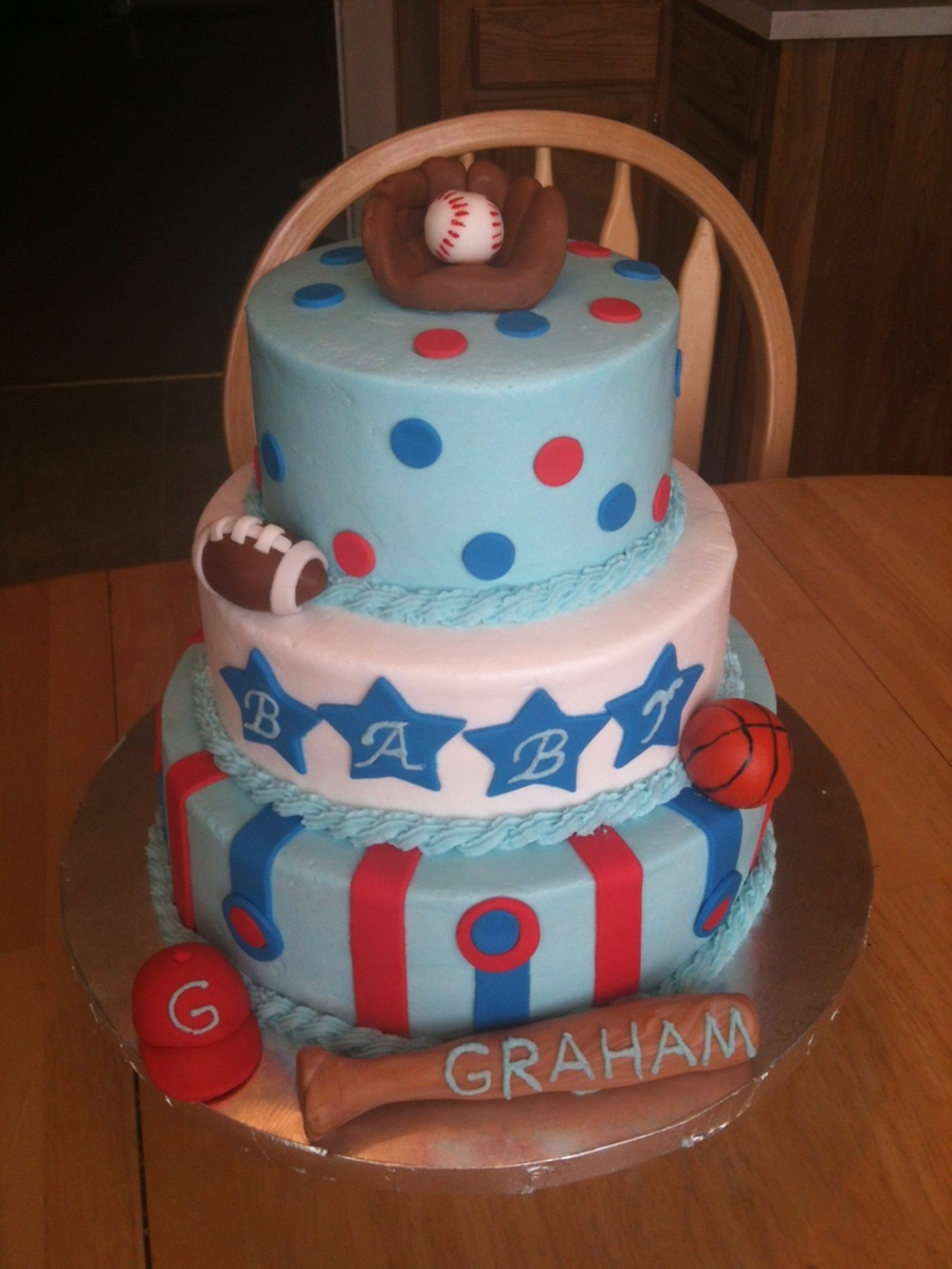 Sports Baby Shower Cake Balls Glove And Bat Made From Fondant Buttercream  Icing With Fondant Stripes