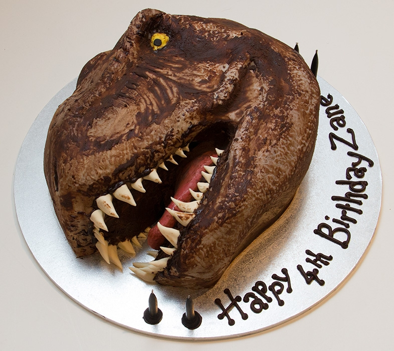 Dinosaur Head Interracial Species Chocolate Cake With