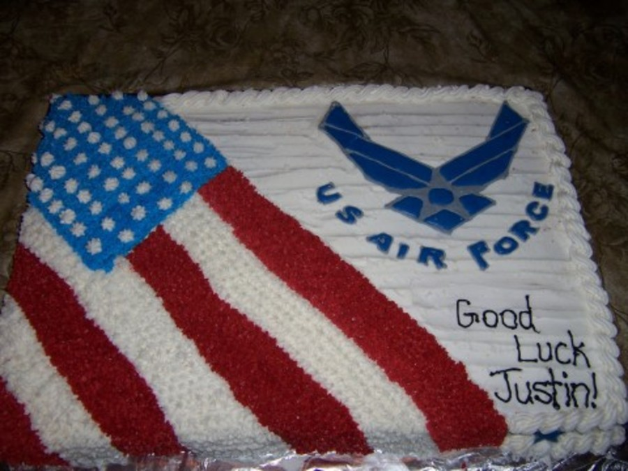 Air force good luck cake for Air force cakes decoration