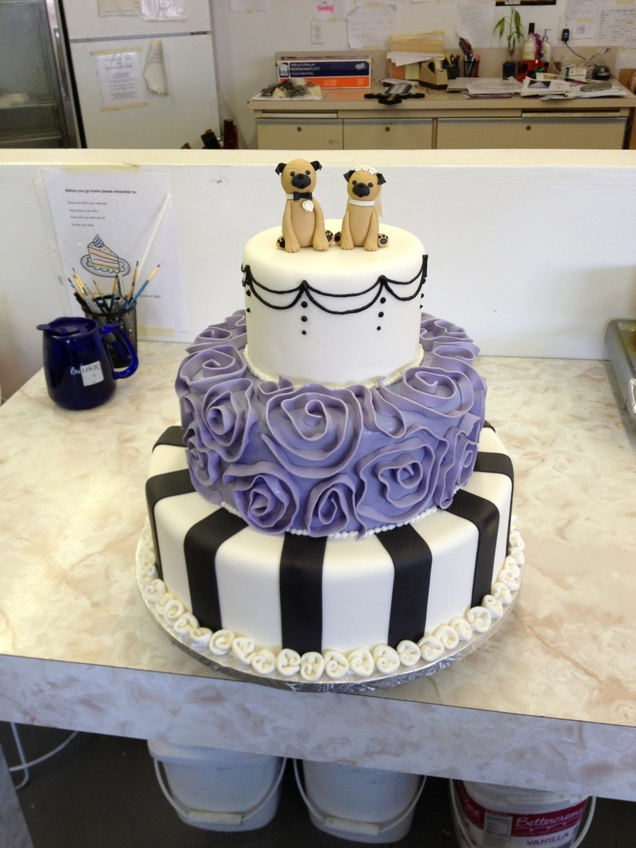 French-Ish Cake With Pug Toppers on Cake Central