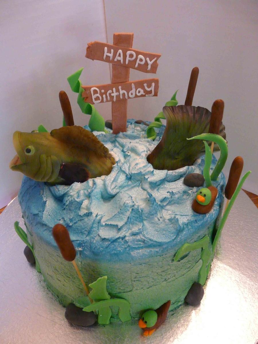 Bass fishing birthday for Fish birthday cake