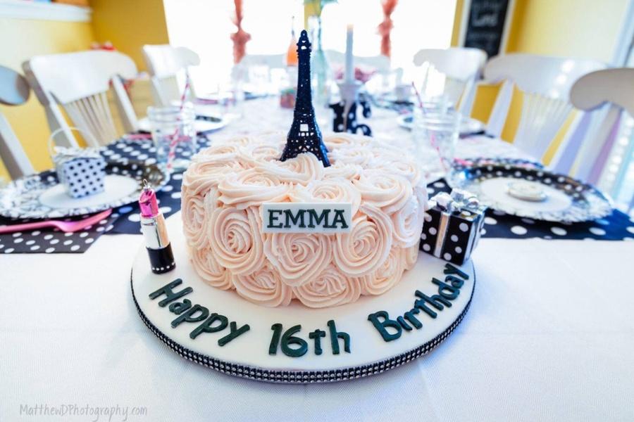 Astounding Paris Themed Birthday Cake With Buttercream Ruffle Roses Funny Birthday Cards Online Fluifree Goldxyz