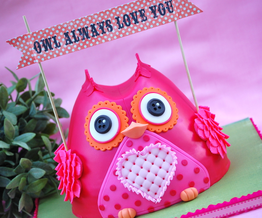 A Valentines Day Owl Made In The Wilton Wonder Mold For Those Of You Not Familiar With This Mold Its A Bell Shaped Pan Similar Im Tol on Cake Central
