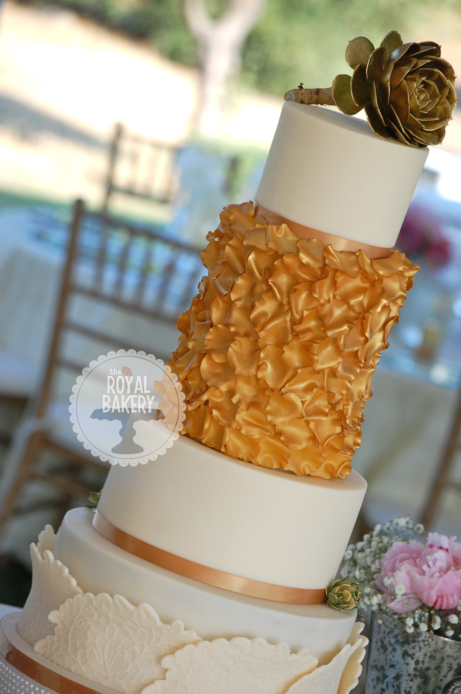 Gold Rose Petal Wedding Cake on Cake Central
