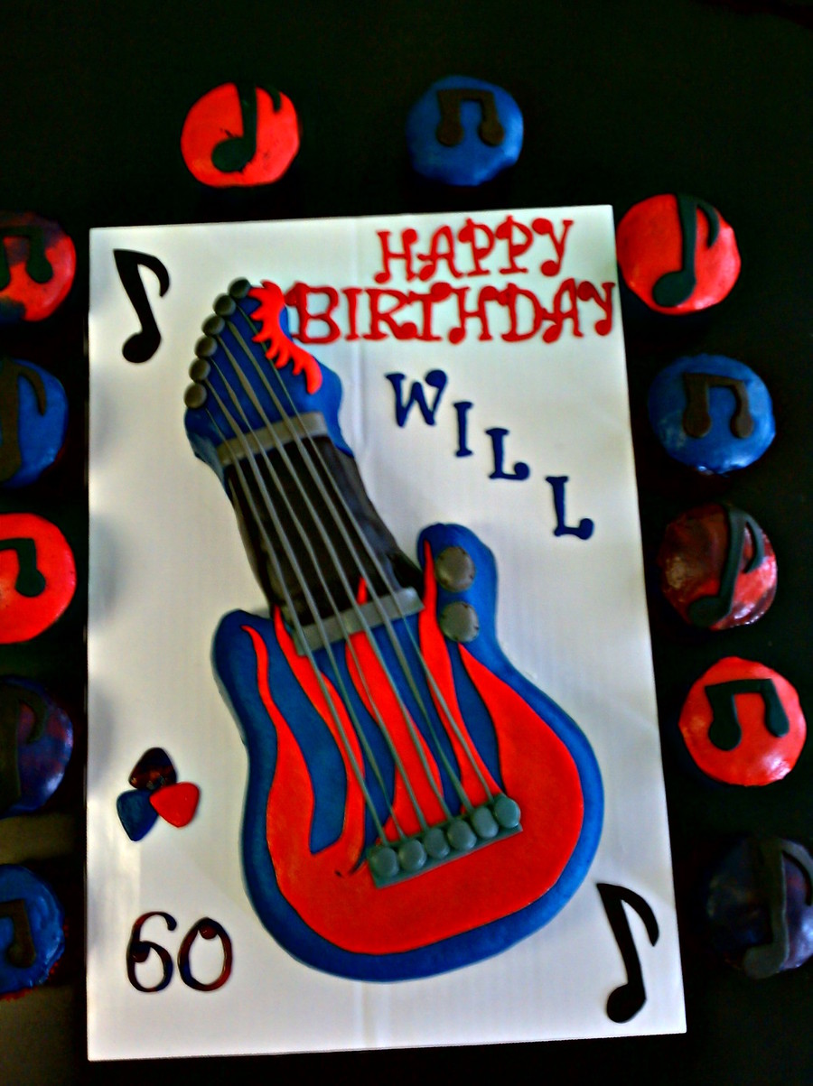 Guitar Cake W/ Cupcakes on Cake Central