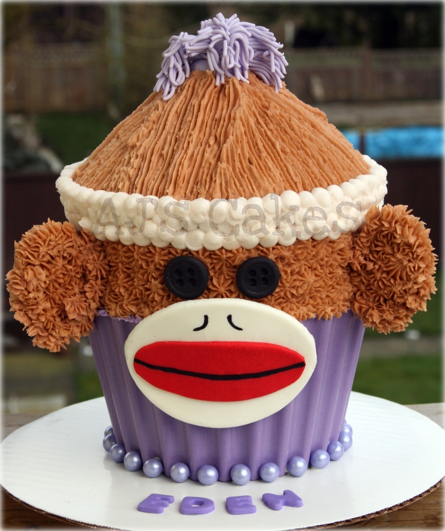Sock Monkey Giant Cupcake on Cake Central